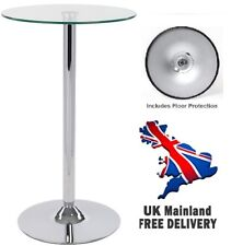 Round Clear Glass Table / Modern Chrome Finish / Drinks Breakfast Dining Bar