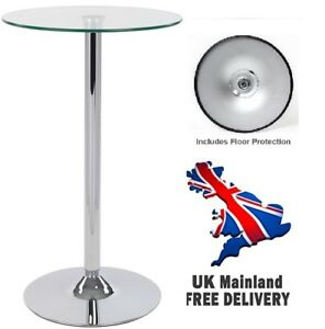 1m Tall Round Tempered Glass Table - Kitchen Breakfast Dining Bistro Bar Stand