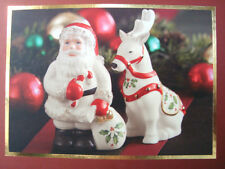 LENOX Santa and Reindeer  Salt Pepper Shakers NIB $30.00