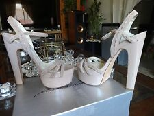 Brian Atwood *Authentic* SkyHigh Platform Sandal Nude Patent Sz 40