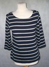 Lovely nautical BRETON top JIGSAW M blue pale grey stripes 12