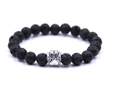 UK.Silver Dog/Cat Paw Black Lava Stone Crystal Gemstone Bead Bracelet. Pet.