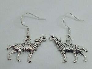 New Handcrafted Silver 925 Wolf Charm Drop/Dangle Earrings Fun Novelty Quirky