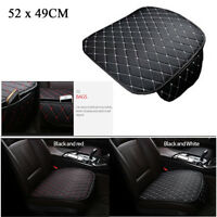1X Universal Car Front Seat Cover Protector Pad Mat Black PU Leather White Seam