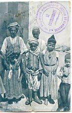 CARTE POSTALE / ALGERIE / ENFANTS ET FILLETTES ARABES + CACHET INFANTERIE