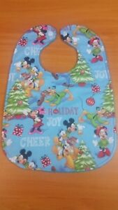 Handmade baby bib - snap closure - Mickey Mouse and Friends Christmas themed