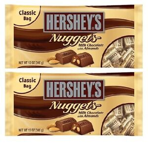 Hershey's Nuggets Milk Chocolate with Almonds 2 Bag Pack