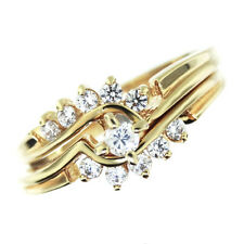 Ladies 0.10 Carat Cubic Zirconia Center Stone 18kt GP Wedding Set Ring Size 9
