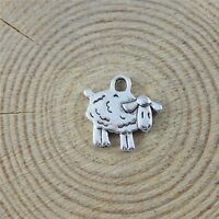 15X Vintage Style Silver Tone 15*10*1mm Lovely Sheep Shaped Pendant Charms