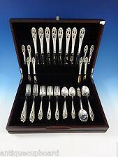 Silver Iris by International Sterling Silver Flatware Set 8 Service 48 Pieces