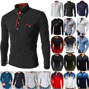 Men Long Sleeve Casual T-shirt / Polo Shirt Casual Sport Tee Pullover Blouse Top