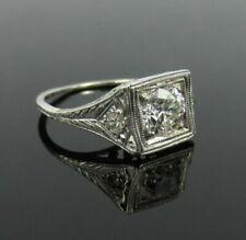 Engagement Ring 14k White Gold Over Art Deco 1.53Ct Round Near White Moissanite