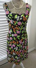 SIGRID OLSEN Wiggle Sheath Dress - Size 4 - Black Green Floral Sleeveless Dress