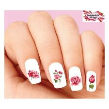 Waterslide Flowers Nail Decals Set of 20 - Pink Roses Assorted