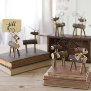 Rustic Wood Twig Reindeer Place Card Holder (Christmas, Wedding - Set of 6)