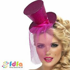 PINK MINI TOP HAT ON HEADBAND DANCER BURLESQUE ladies womens fancy dress costume