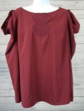 LOGO Lorie Goldstein Instant Chic Top Sz Large Long Sleeve Cold Shoulder Maroon
