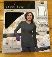 NEW Womens Cuddl Duds Black Performance Activetech L/S Shirt Size XL X-LARGE
