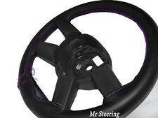 Real De Cuero Negro cubierta del volante púrpura Costura Para Audi A4 B5 B6 94-05