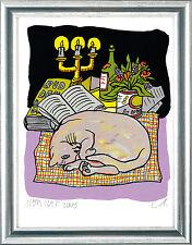 """Moritz Götze (geb. 1964), sign. Grafik """"Katze vor Thomas Mann Buddenbrooks"""""""