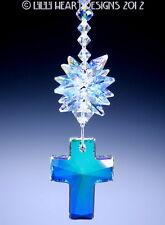 m/w Swarovski Crystal 40mm AB Cross and AB Star Suncatcher Lilli Heart Designs