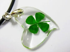 12 pcs Charm Lady's green four leaf clover heart design St Patrick pendant