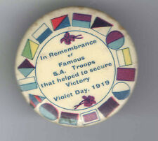 1919 Era pin WWI Homefront pinback VIOLET Day Honored TROOPS Secured VICTORY !