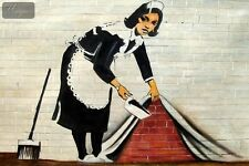 """HOMAGE TO BANKSY - SWEEPING UNDER WALL 48X72 """" OIL PAINTING HAND PAINTED"""