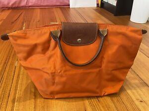 LONGCHAMP * Le Pliage Original Tote Short Handle Bag Medium Orange