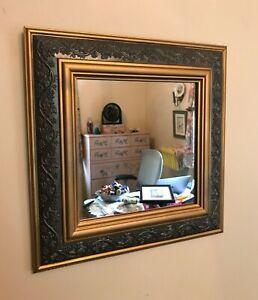 "Mirror resin/plastic 12 1/4"" frame ~ grape vine design ~ 8"" glass mirror"