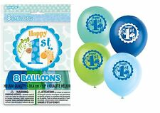 "1st First Birthday Boy's Blue Party Supplies Safari LATEX HELIUM 12"" BALLOONS x8"