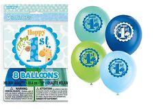 "1st First Birthday Boy's Blue Party Supplies Safari LATEX HELIUM 12"" BALLOONS x8"