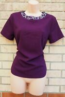 DOROTHY PERKINS PURPLE SHORT SLEEVE BEADED NECK PARTY FORMAL BLOUSE TOP 10 S