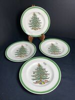 """SPODE CHRISTMAS TREE Bread and Butter Plates 6 1/2"""" - Set Of 4- Made in England"""