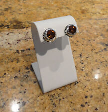 Chico's Silver Simulated Dark Amber Stone Stud Clip On Earrings Beautiful New!