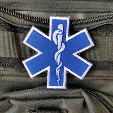 MEDIC PARAMEDIC EMT EMS RESCUE FIRST RESPONDER HOOK PATCH BLUE EMBROIDERED BADGE