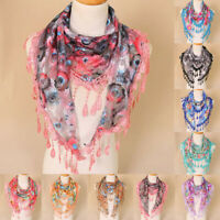 Women Ladies Lace Tassel Floral Multicolor Print Hollow Scarf Shawl Wrap Scarves