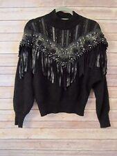 Vtg Erez Angora Wool Sweater Embellished Bling Leather Fringe Dolman Sleeves M