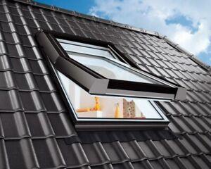 Top! Dachfenster aus Kunststoff +Eindeckrahmen +Wärmedämmung +Rollo Skylight