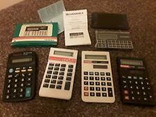 5 POCKET CALCULATORS TEXAS TI-502,HANIMEX LC740,CASIO SL-300j,HS8G,BUSICOM EL240