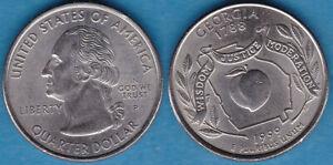 US 1999-P Quarter Dollar GEORGIA Copper-nickel-clad-copper KM-296 aUNC #108
