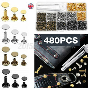 480Pcs Leather Rivets Set Double Cap Rivet Tubular Metal Studs Setting Tool Kit