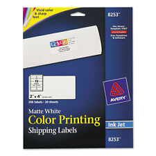 Avery Vibrant Color-Printing Shipping Labels 2 x 4 Matte White 200/Pack 8253