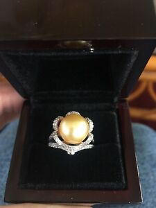 South Sea Golden Cultured Pearl, Multi Gemstone Ring Fits Size 6 thru 6.5