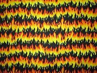 ORANGE YELLOW BLACK FIRE FLAMES BIKER HOT ROD CAR COTTON FABRIC FQ
