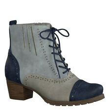 Womens Ladies Mid Low Heel Brogue Lace Up Ankle Boots Vintage Office Work Size