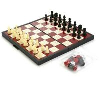 10x10 Chess Set Folding Board Travel Compact Case BACKGAMMON CHECKERS Magnetic