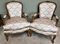 Pair of Vintage French Provincial Louis XV Hand Carved Wood Bergere Armchairs
