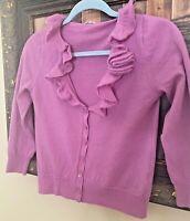 Women's J Crew100% Merino Wool V-neck Ruffled Sweater 3/4 Sleeve XS Cardigan