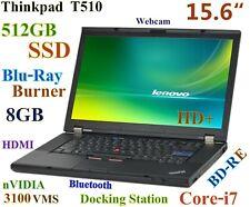 (3D Design) Thinkpad T510 Core-i7 Blu-Ray Burner 512GB SSD 8GB 15.6 nVIDIA DOCK